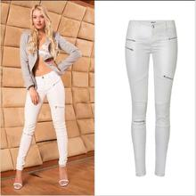 SupSindy PU leather pants White Leggings wild Slim pencil pants zipper motorcycle