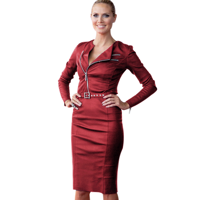 VfEmage 2015 Women Winter Belted Synthetic Leather Long Sleeve Zipper Wear to  Work Party  Bodycon Fitted Sheath Dress 419