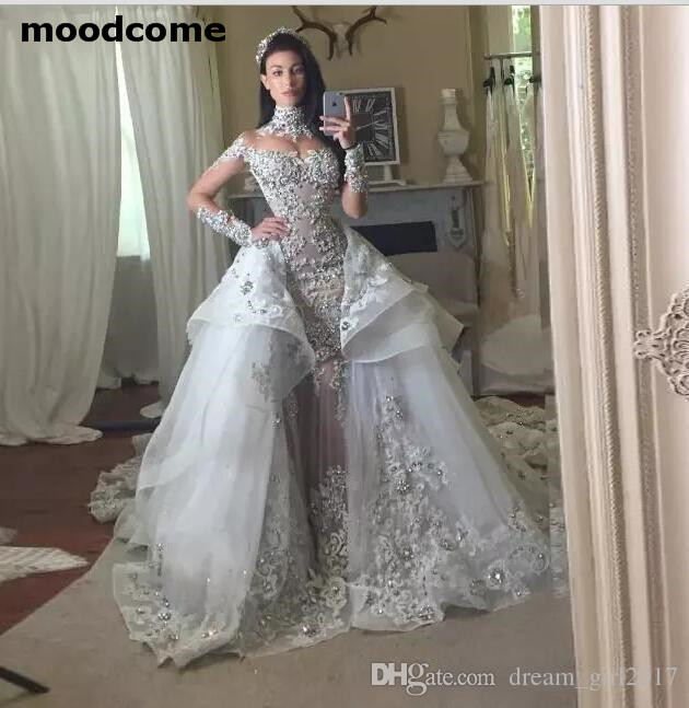 2018 Luxury Crystal Wedding Dresses With Detachable Skirt High Neck Long Sleeves Beaded Applique Wedding Gowns Court Train Brida