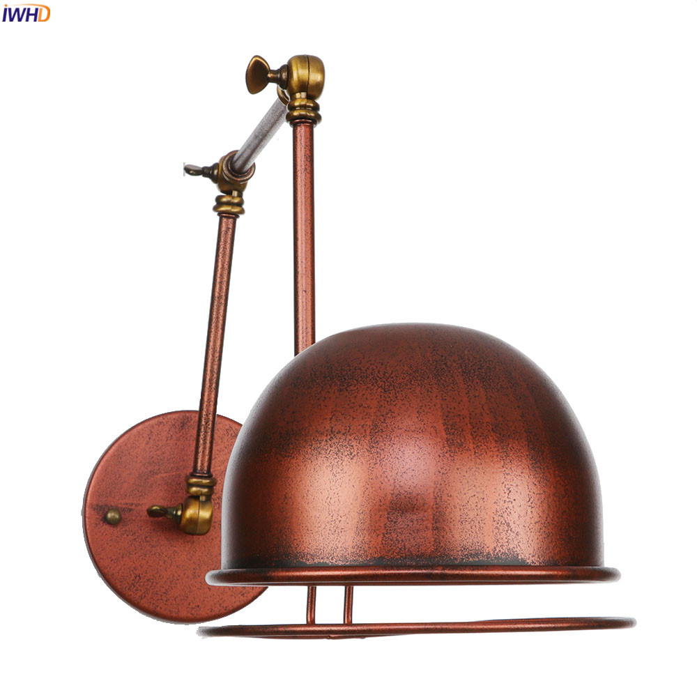 IWHD Adjustable Antique Vintage Wall Lamp Bedroom Mirror Stair Light Loft Industrial Wall Lights Fixtures Luminaire Lighting LED