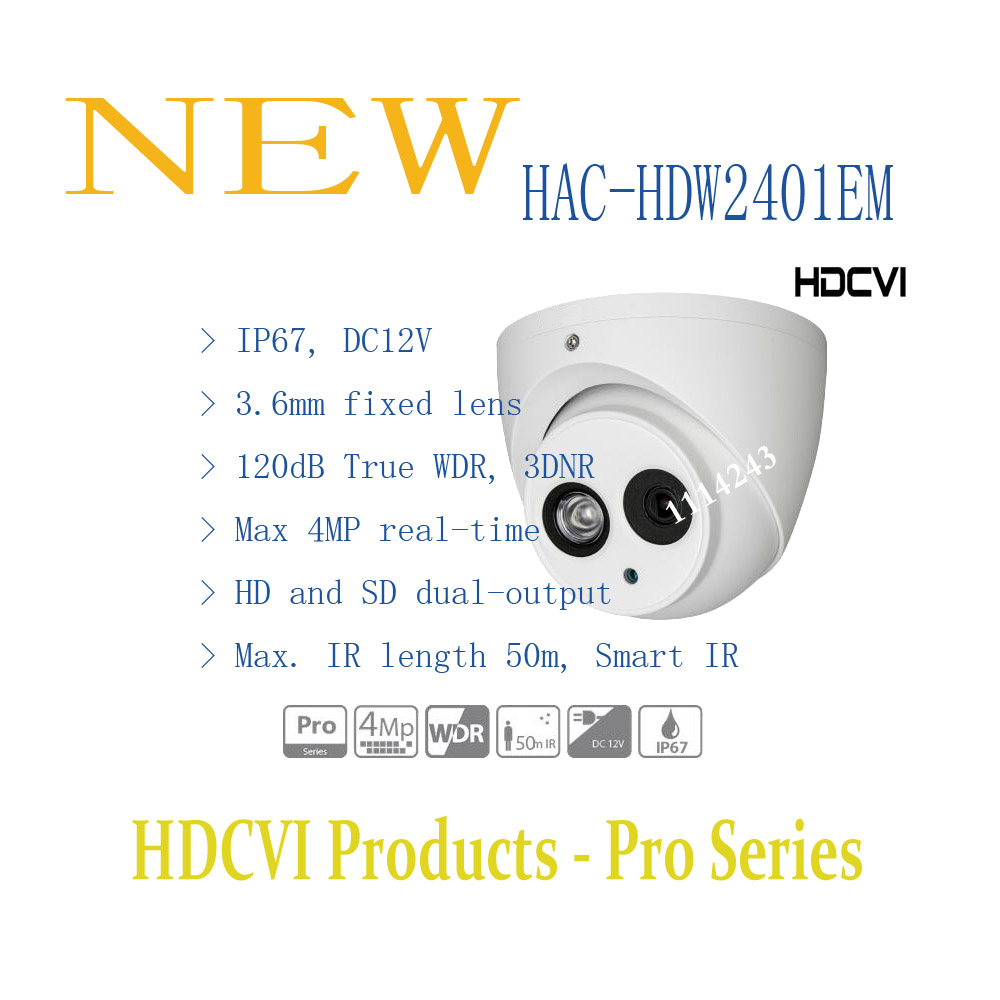 Free Shipping DAHUA Security Camera CCTV 4MP FULL HD HDCVI WDR IR Eyeball Camera IP67 Without Logo HAC-HDW2401EM free shipping dahua cctv camera 4k 8mp wdr ir mini bullet network camera ip67 with poe without logo ipc hfw4831e se