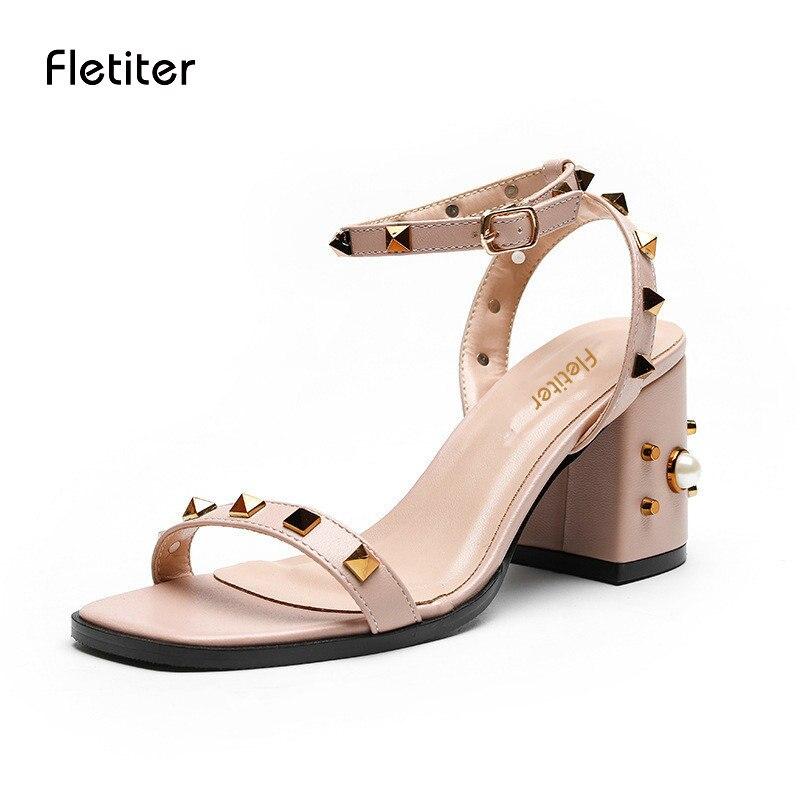 épais Med Fashion Med Casual Ladies Chaussures talons Fletiter 7 Summer xnSwz08qd8
