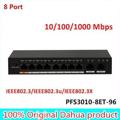 DH Original Export version 8 Port Fast Ethernet PoE Switch 10/100/1000 Mbps PFS3010-8ET-96 Supports MDI/MDIX DC 48-57V цена