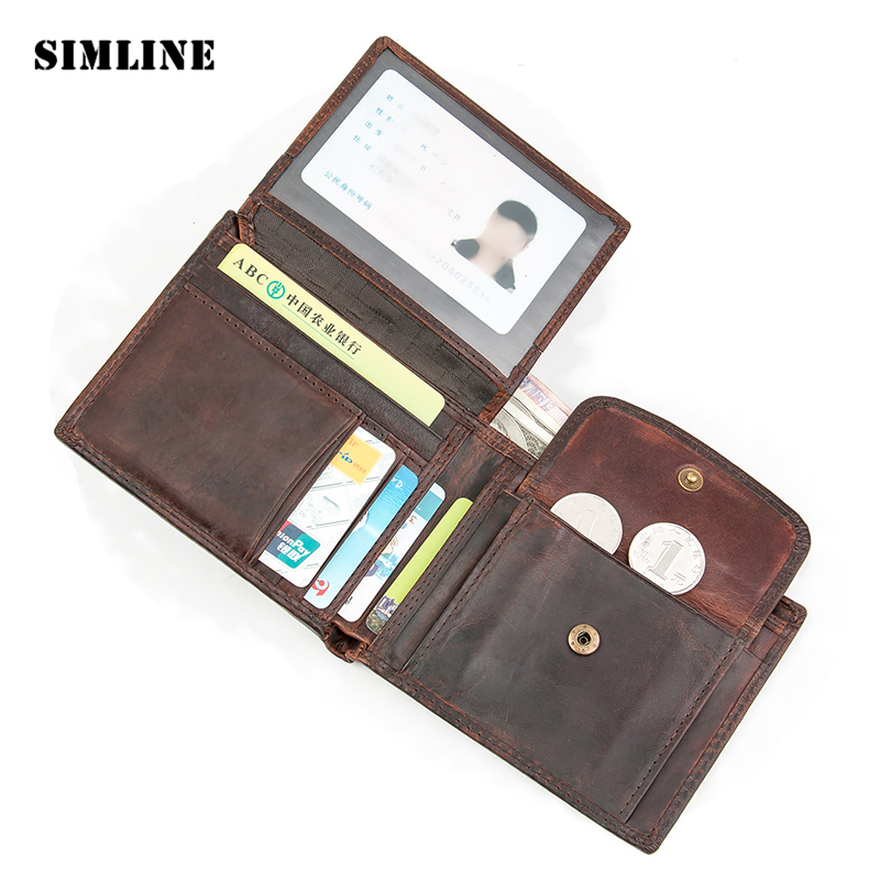 Brand Vintage 100% Real Genuine Cowhide Leather Men Mens Short Bifold Wallet Wallets Purse Card Holder With Coin Pocket Zipper dalfr genuine leather mens wallets card holder male short wallet 6 inch cowhide vintage style coin purse small wallet