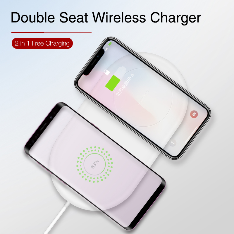 Image 5 - KISSCASE QI Wireless Charger 2 in 1 Charging for Samsung S9 S8 S10 S9Plus Note 8 S8Plus Wireless Charger Pad For iPhone X XR XS-in Mobile Phone Chargers from Cellphones & Telecommunications