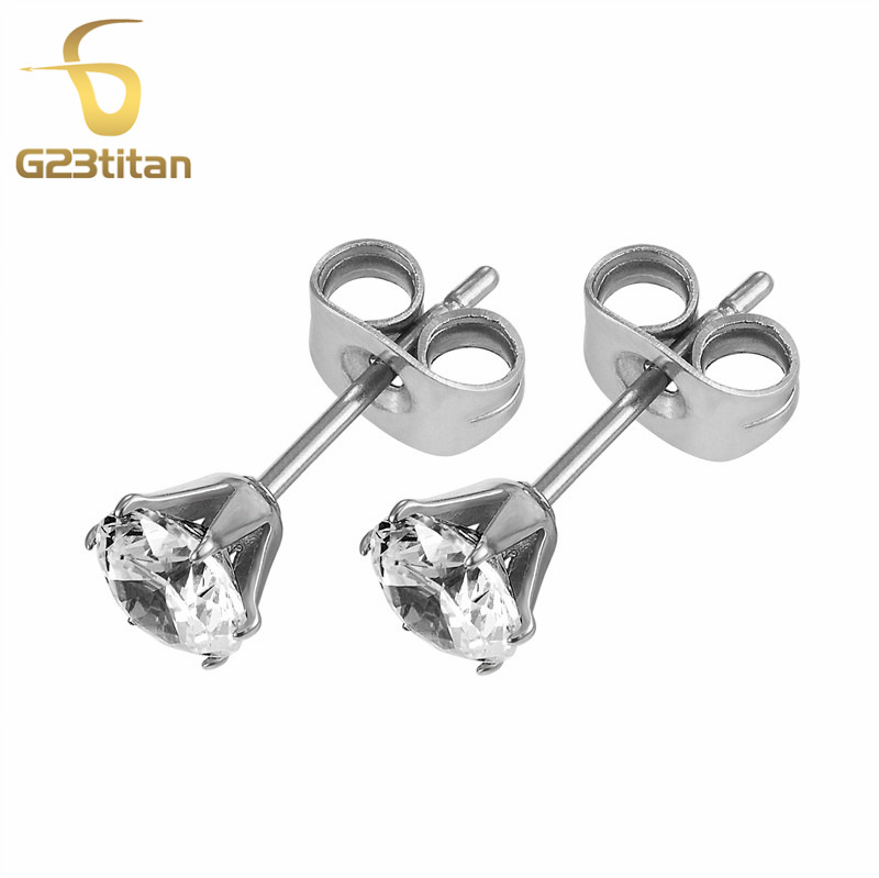 G23titan Zirconia Earrings for Girls Anti-allergic G23 Titanium Stud Earring Ear Piercing Women Jewelry SGS Certification
