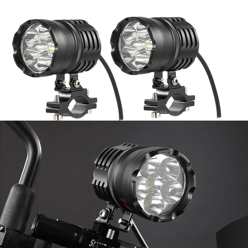 Newest 2PCS 80W 6000LM 6500K  T6 LED Motorcycle Boat Spot Driving Headlight Motorbike Fog Head Light Lamp With Switch