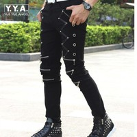 2019 New Arrival Spring Fashion Mens Punk Skinny Pants For Man Cool Cotton Casual Pants Zipper Slim Fit Black Goth Trousers