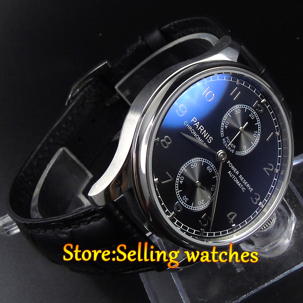 43mm Parnis Power Reserve black Dial mechanical Automatic Mens Watch hot sale 46mm parnis black dial power reserve white marks automatic men wrist watch