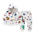 Primavera 2017 de Los Niños que arropan el bebé de dibujos animados patrón de algodón de la capa encapuchada ocasional + pants del cabrito chica juegos de los deportes