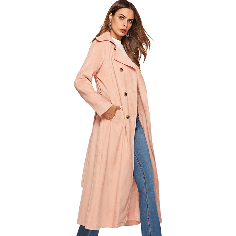 2018 New Autumn Winter Corduroy   Trench   Coat Women Abrigo Mujer Long Elegant Office Outwear Female Overcoat Slim Cardigan   Trench