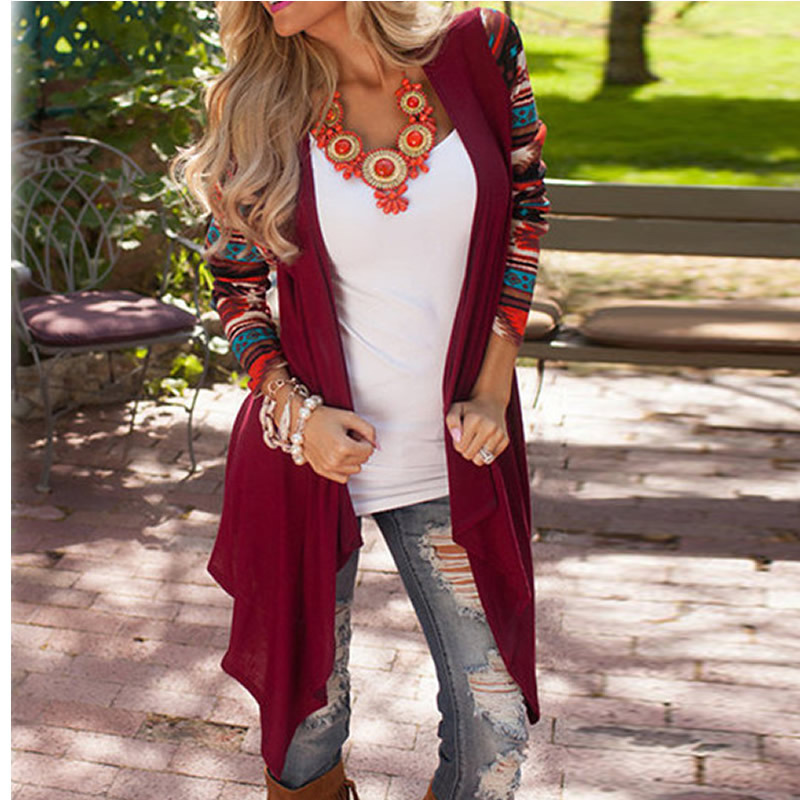 2017 Women Geometric Printed Knitted Sweaters Cardigans Outwear Tops Female Autumn Clothes Asymmetric Cape Poncho Fashions