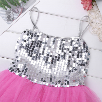 Kids Girls Jazz Dress Sparkly Sequins Mesh Dress with Hairclip Set for Modern Contemporary Stage Performance Dance Clothes 4