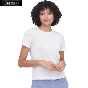 Image 1 - LilySilk Silk Knitted T shirt Soft Pure Natural white New Free Shipping