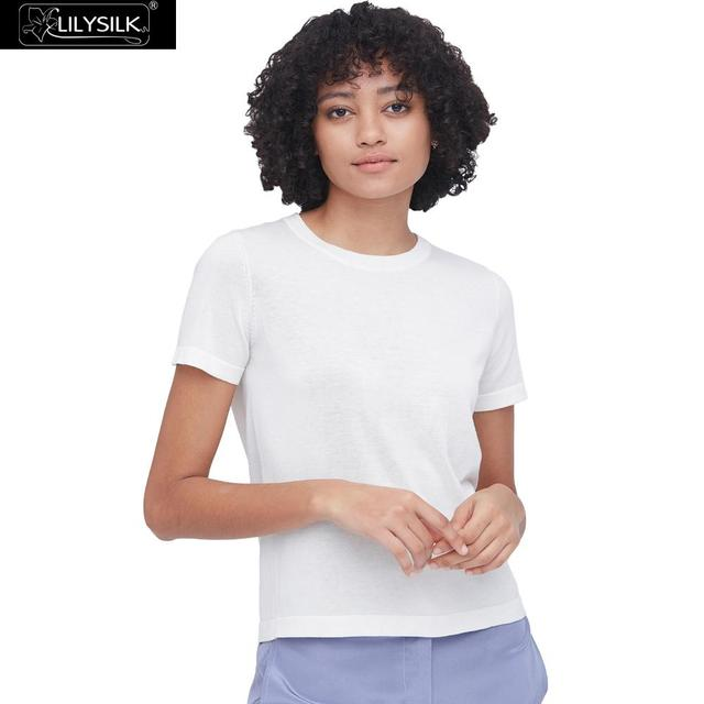 LilySilk Silk Knitted T shirt Soft Pure Natural white New Free Shipping