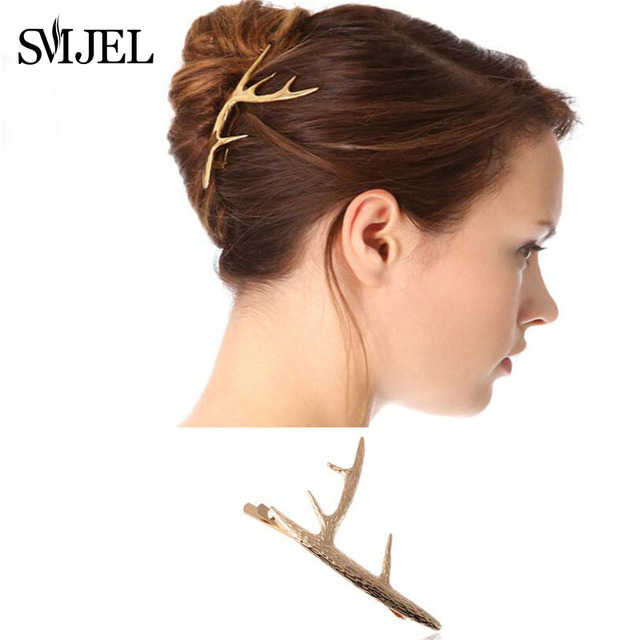 SMJEL New 2018 Fashion Tree Branches Women Hairpins Metal Girl Barrette Deer Antlers Horn Hair Clips Hair Accessories Christmas