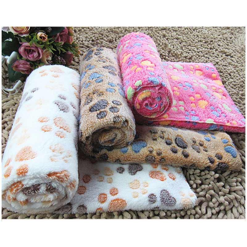 Cute Footprint Pet Sleep Mat Dog Cat Blankets Fall Winter Blanket Warm Microfiber Dog Towel For Small Pet Bed Pet Cushion