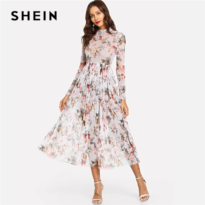 SHEIN Multicolor Highstreet Party Elegant Mock Neck Semi Sheer Pleated Floral A Line Dress