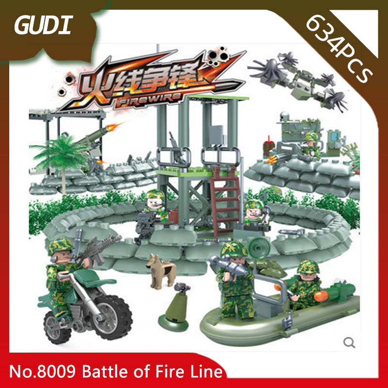GUDI 8009 634pcs 4IN1 Military Series The Battle of Fire Line Building Blocks Set Bricks Boys Favourite Toys For Chidren Gifts