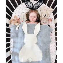 2016 Baby Blanket Cute Rabbit Knitted For Bed Sofa Cobertores Mantas BedSpread Bath Towels Play Mat