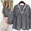 New Autumn And Spring Preppy Style Lantern Sleeve Women Blouse Plus Size V Neck Ruffles Plaid