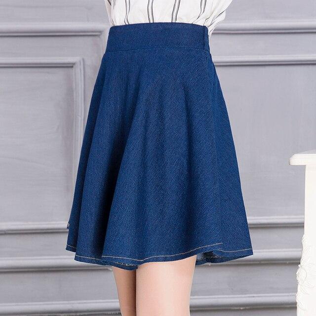 06cbd052b Nova moda feminina 'elegante vintage sólidos elastic denim jeans mini saia  saias plissadas mulheres plus