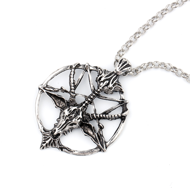 Fashion Pentagram Skull Goat Head Pendant Necklace for Men and Women Greek Mythology Pan Pastor God Lucky Star Necklace Jewelry