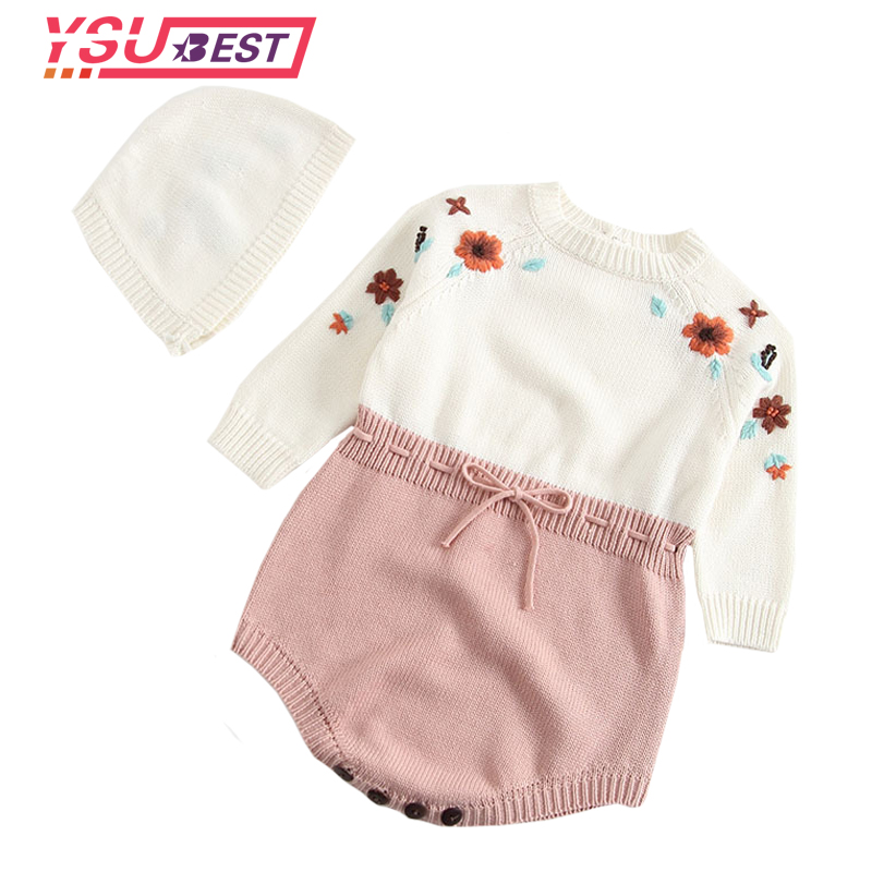 Baby Knitted Clothes Newborn Baby Girls Romper Embroidery Long Sleeve Woolen Pompom Infant Jumpsuit For Girls Overalls Clothes