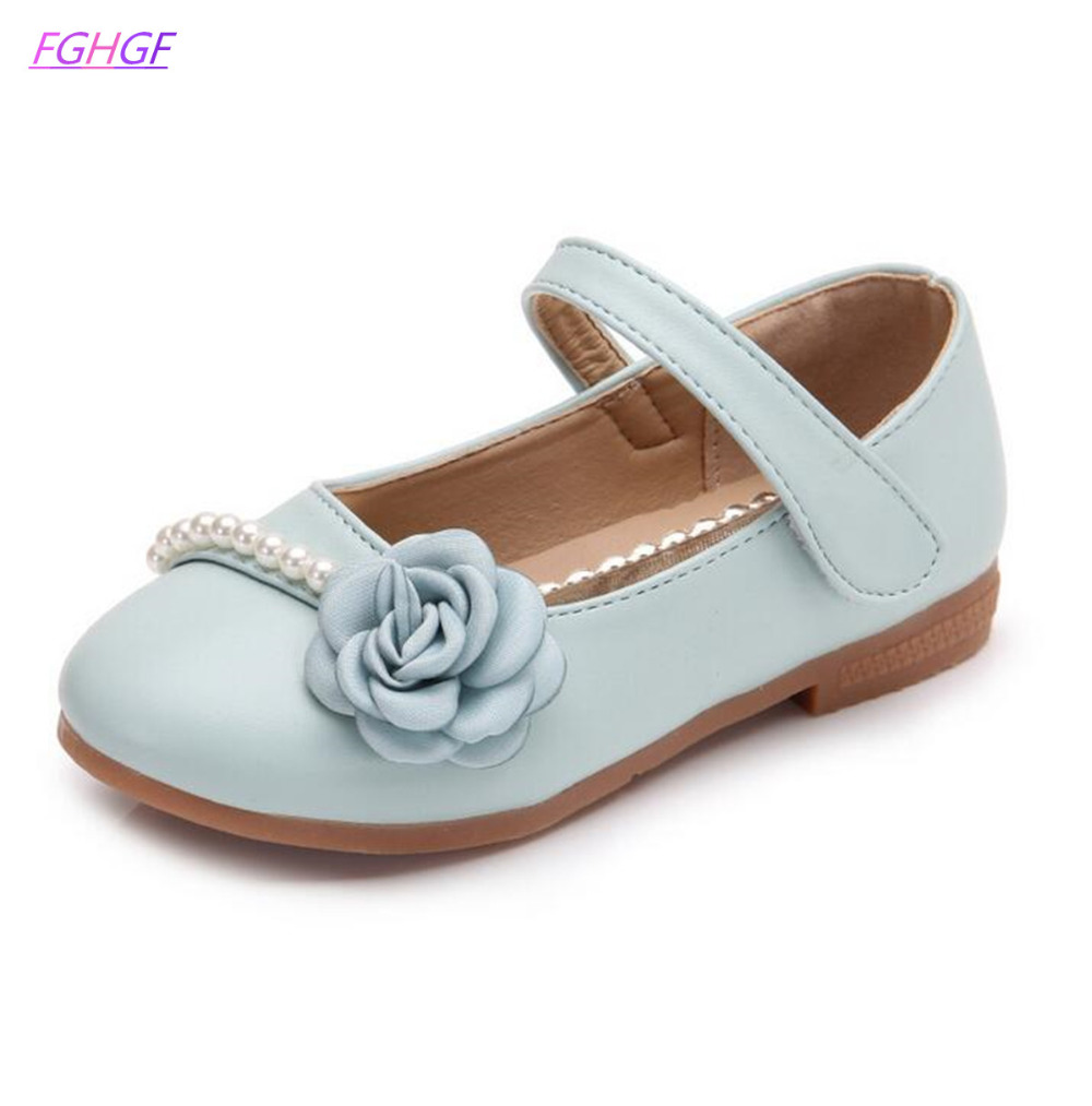 EUR 26-36 brand Children shoes Flower Princess Leather shoes Wedding flower childrens shoes Girls Soft Single flats Dance Shoes