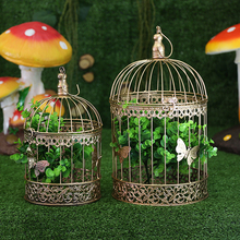 Wrought iron golden bird cage Wedding props decoration, window decoration flower