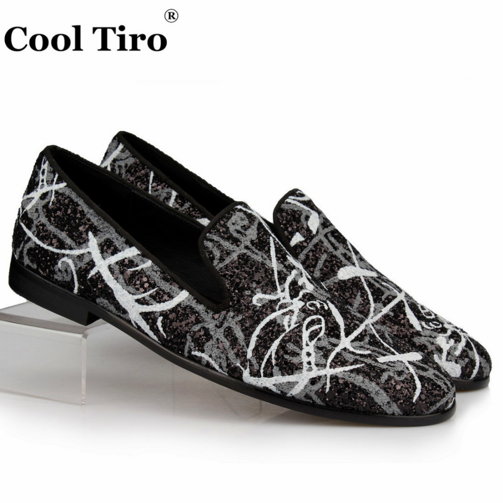 Graffiti Sequins Loafers Glistening Glitter Men Slippers Genuine Leather Shoes Wedding Men Dress loafers Male s