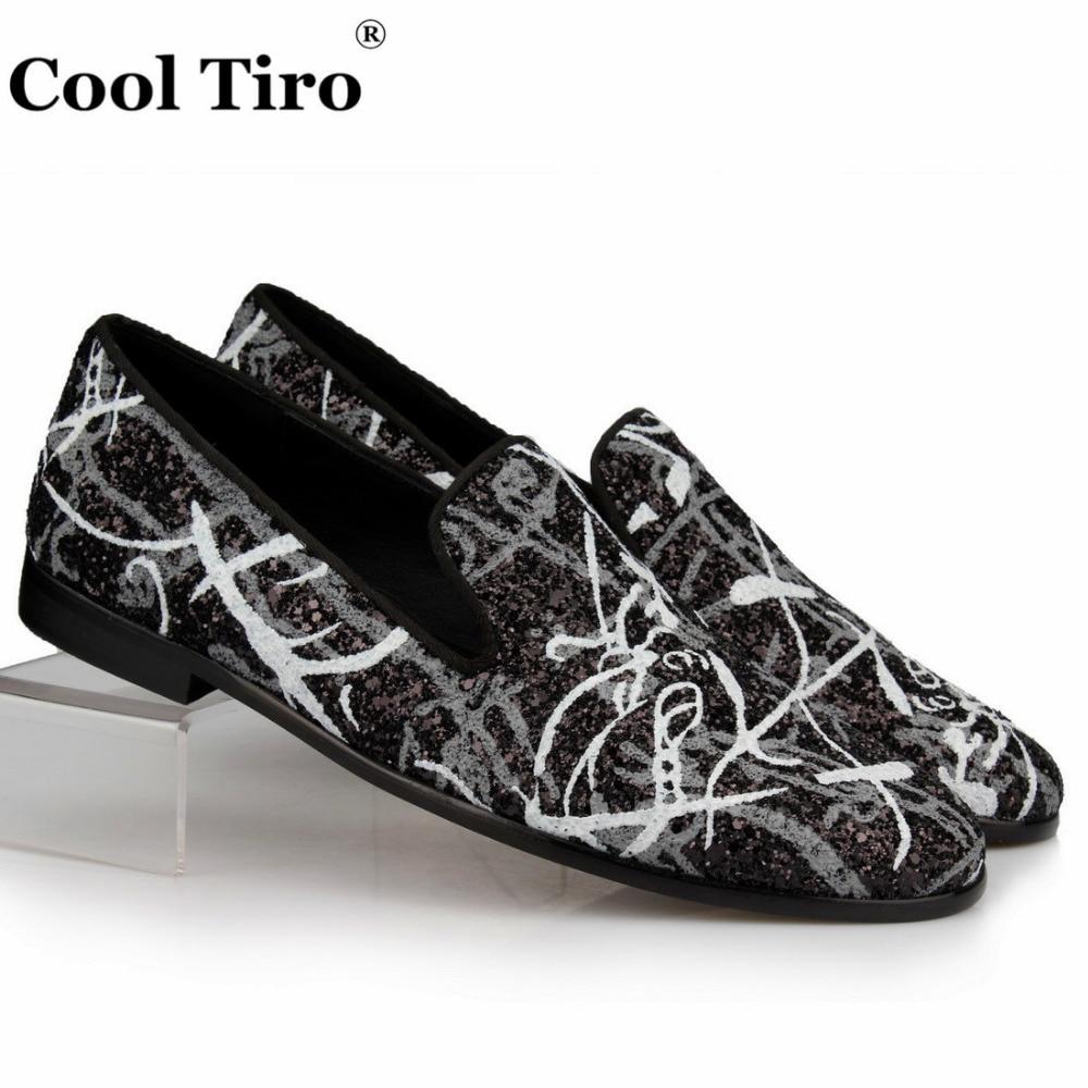 Zapatillas Los Holgazanes Genuino Mocasines Negro Ocasionales Hombres Zapatos Planos De Lentejuelas Boda Vestido Cuero Glitter Graffiti Pq0wCp5I7