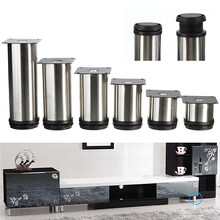 4pcs/set Cabinet Metal Legs Adjustable Stainless Steel Home Furniture Corner Kitchen Feet Round Stand Base(China)
