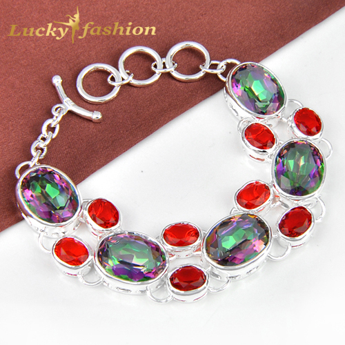 New Arrive fashion pulseiras femininas silver plated mystice rainbow topaz chain bracelets for women loom rubber bands