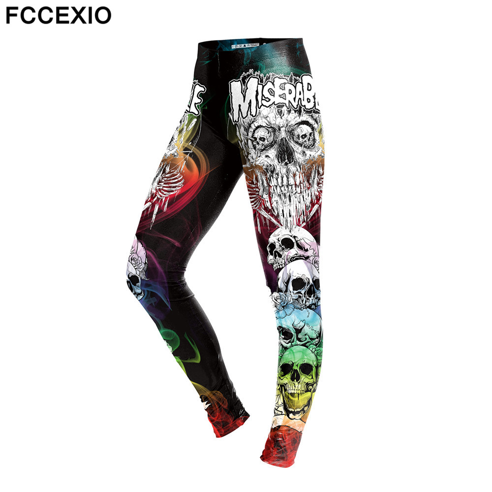 FCCEXIO New Summer Skull Skeleton Women High Waist Leggings White Bone and Letter Printing Trousers Working Out Fitness Leggins ...
