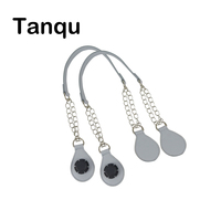 TANQU 1 Pair Long Rope Handle With Tear Drop End Double Layer Metal Chain For O