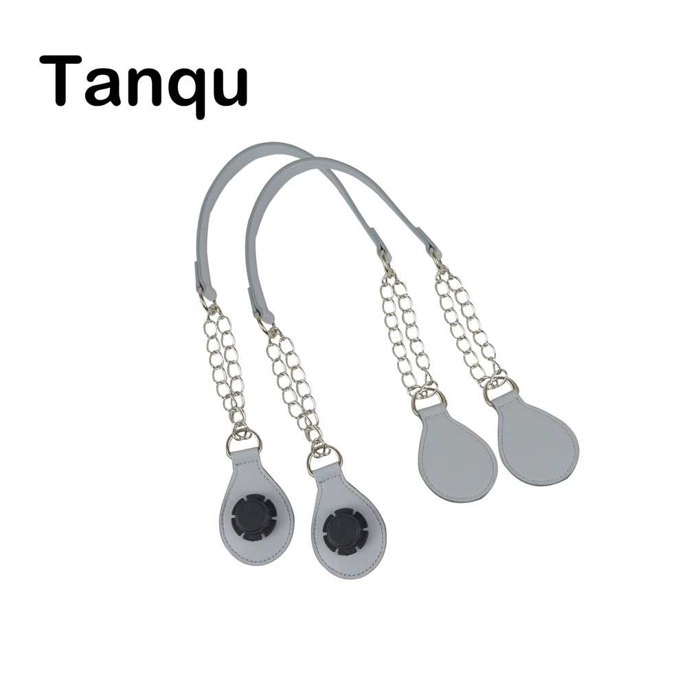 TANQU 1 Pair Long leather PU chain Handle with Tear Drop End Double Metal Chain for O Bag for EVA Obag Women Bag tanqu diamond shaped variable handle for obag long adjustable handles with drop buckle for o bag for eva bag body