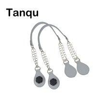 Tanqu 1 пара Длинные кожаные PU ручка-цепочка с Tear Drop конец двойной металлической цепью для вывода сумка для eva obag для женщин сумка