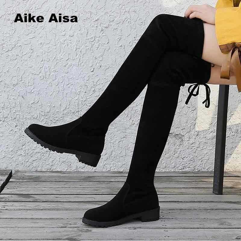 Kích Thước 35-41 Mùa Đông Trên Đầu Gối Giày Nữ Vải Co Giãn Đùi Gợi Cảm Người Phụ Nữ Giày Dài Bota Feminina zapatos De Mujer #66