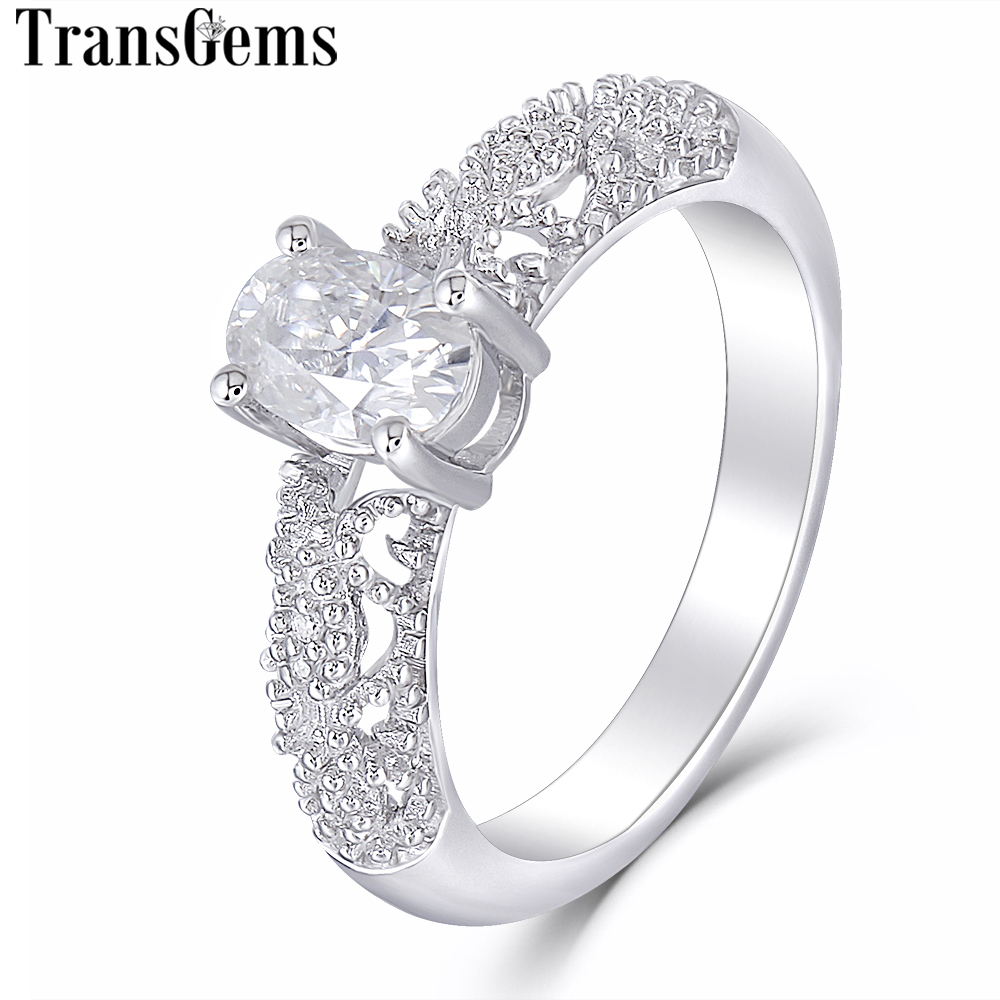 Transgems Vintage Solid 14K 585 White Gold Main 0.6ct 4X6mm Oval Cut F Color Moissanite Engagement Ring for Women Wedding