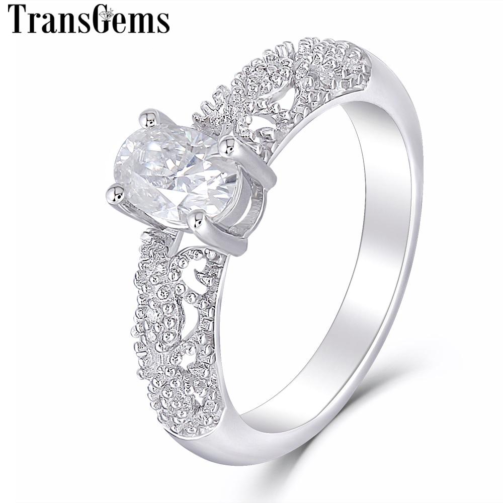 Transgems Vintage Solido 14 K 585 Oro Bianco Principale 0.6ct 4X6mm Ovale Cut F Colore di Fidanzamento Moissanite anello per le Donne di Nozze