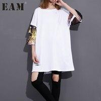 EAM 2018 Spring Summer Fashion New Black White Long T Shirt Loose Korean Sequins Sleeve