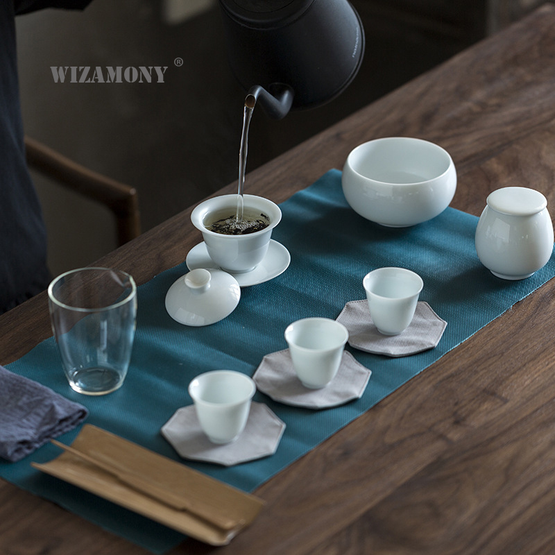 WIZAMONY Travel Bag Chinese Kung Fu Tea set gaiwan teapot teacups fair mug tea sets white ceramic fot gift puer Drinkware