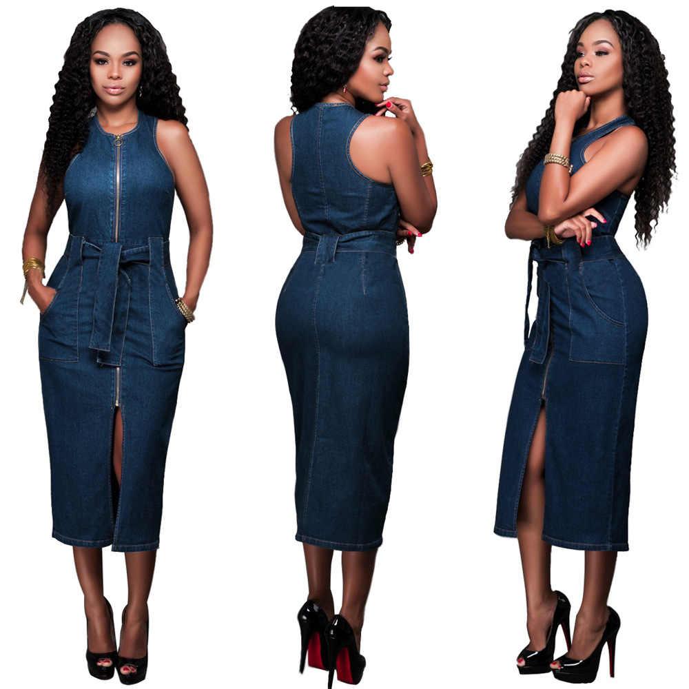Женское повседневное джинсовое платье 2019 ретро сексуальные летние джинсы без рукавов дамы молния неправильное платье Vestido