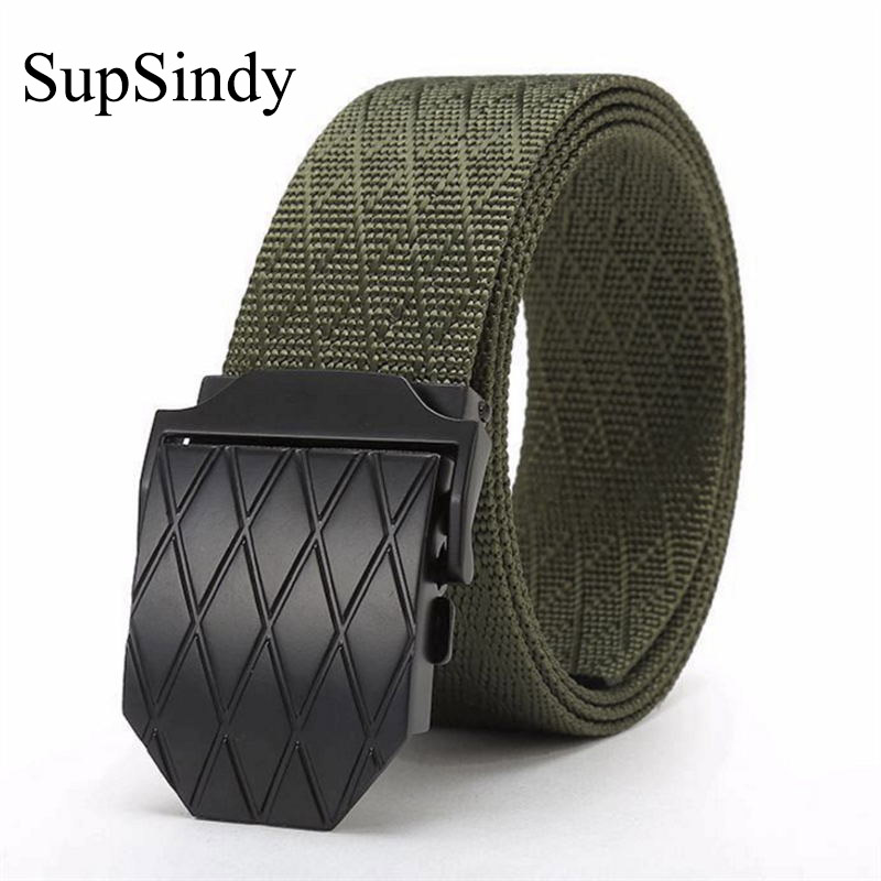 SupSindy canvas   belt   Black Alloy buckle nylon waistband military men   belt   Army tactical   belts   for Women best quality male strap