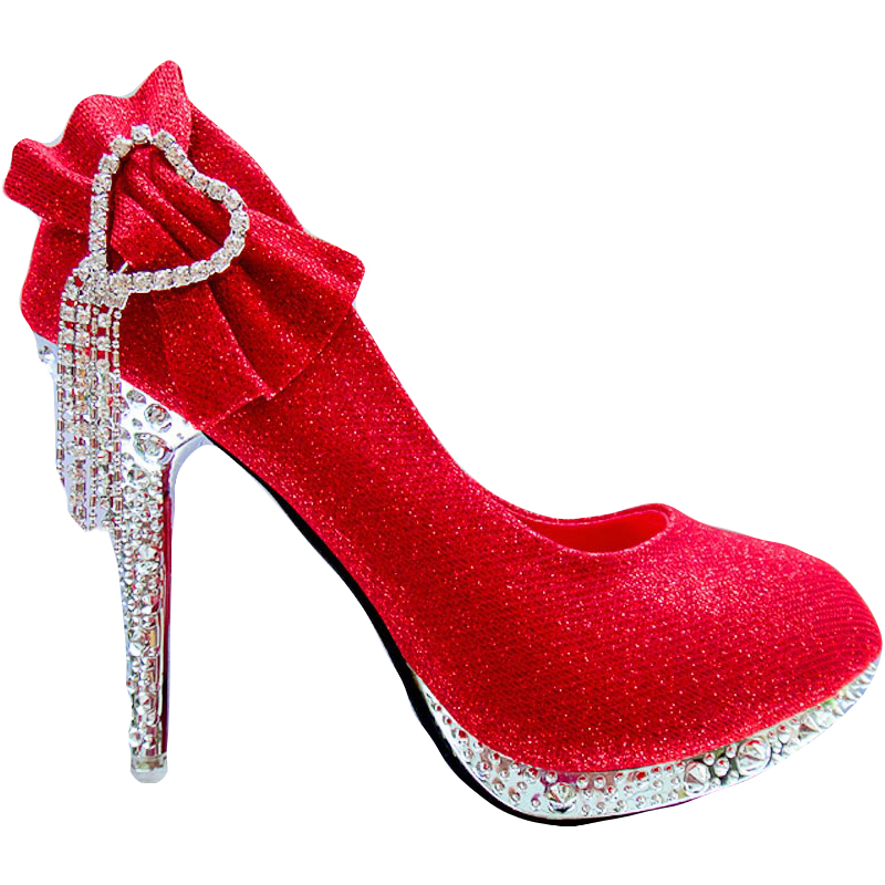YeddaMavis Women Pumps Glitter Gorgeous Red Wedding Shoes Bridal Crystal Women High Heels Women Shoes Woman Pumps Bridal Shoes in Women 39 s Pumps from Shoes