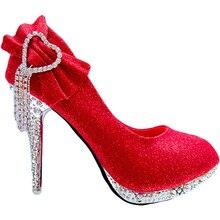 YeddaMavis Women Pumps Glitter Gorgeous Red Wedding Shoes Bridal Crystal Women High Heels Women Shoes Woman Pumps Bridal Shoes цена