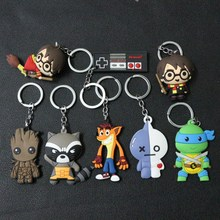 Marvel Guardians of the Galaxy Star-Lord Groot Rocket Raccoon Keychain Keyring Silicone Pendants Key holder Key Ring Accessories цена