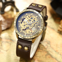 SHENHUA Top Brand Luxury Men Mechanical Wristwatches Retro Bronze Skeleton Automatic Wristwatch For Male Clock Gifts 2019 New