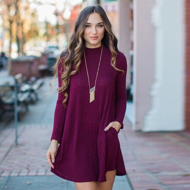 1aab564ccd3d Dark Black Red Blue Gray Cotton Dress Bodycon Autumn Winter Sweater Dress  Long Sleeve Turtleneck Women Jumper Knitwear Vestidos
